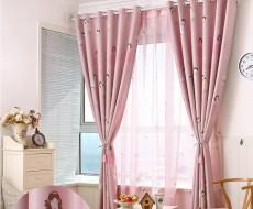 公主房粉色儿童卧室全遮光布